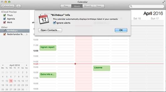 Zet je verjaardag meldingen uit op je macbook